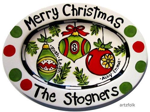 Custom family personalized Christmas ornaments ceramic platter