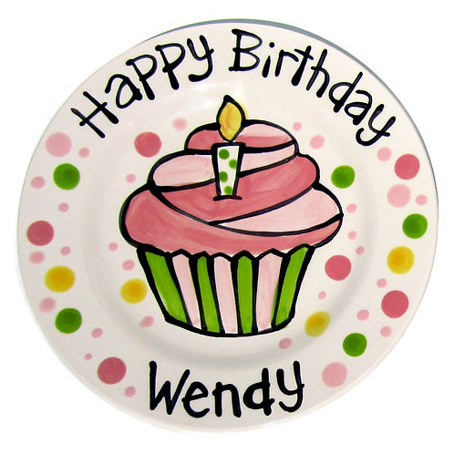 Happy Birthday candle cupcake personalized Plate