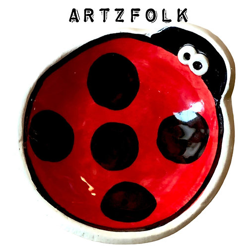 small Handmade Pottery Ladybug art Bowl by Artzfolk
