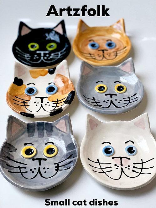 "Small 4"" cat dish handmade pottery by artzfolk gift cat bowl cat lover"