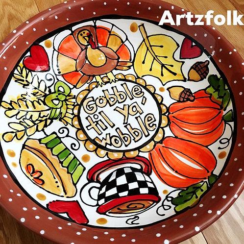 Fall decor thanksgiving original folk art Handmade Ceramic serving bowl dish