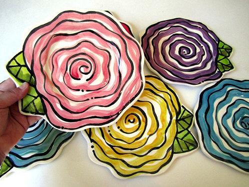 custom personalized Wild Rose Handmade Pottery dessert plate By Artzfolk