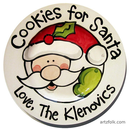 Classic Handmade Cookies For Santa ceramic christmas plate personalized