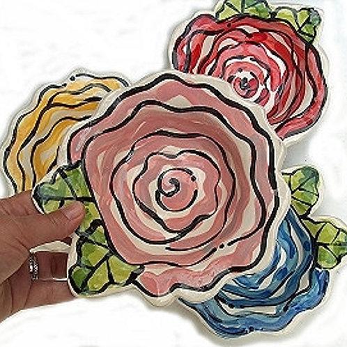 custom personalized Wild Rose Handmade Pottery Bowl By Artzfolk