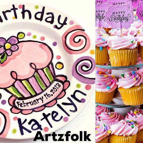 Personalized Birthday Plate confetti party swirls and flower cupcake handmade