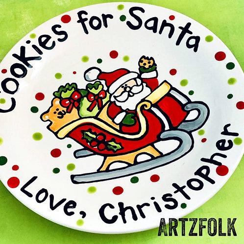 Cookies For Santa holiday ceramic christmas plate Santas sleigh