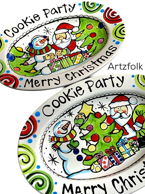 Family Christmas gift santa and snowman platter personalized
