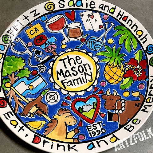 """CUSTOM 13"""" or 15"""" Family Platter Personalized any theme you can think of summer"""