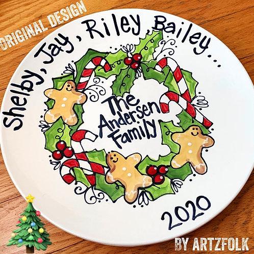 "Family wreath Custom personalized Story Art 13"" round ceramic platter"