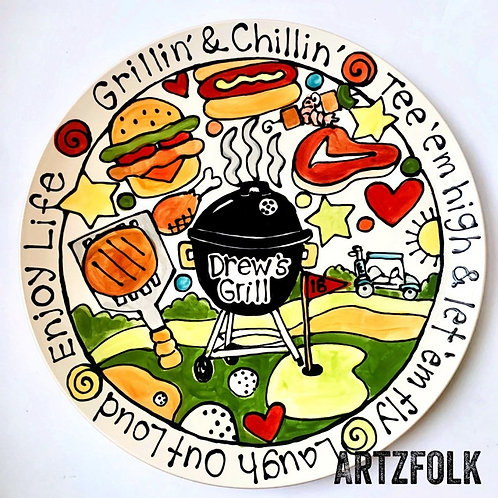"""BBQ lover Family or wedding Custom personalized Story Art 13"""" or BIG 15"""" round"""