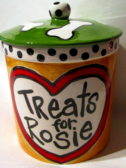 Handmade custom personalized ceramic big heart dog treat jar with bones on lid