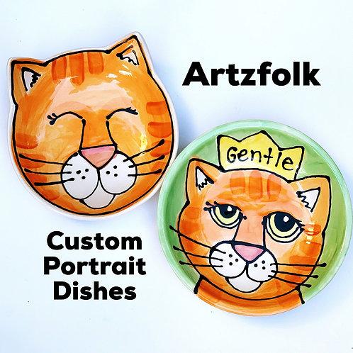 The cutest pair of CUSTOM handmade small Ceramic cat portrait water and food set