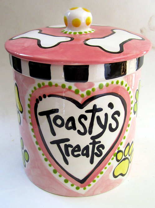 Custom Pet Dog Treats Ceramic large Jar for dogs paws personalized heart