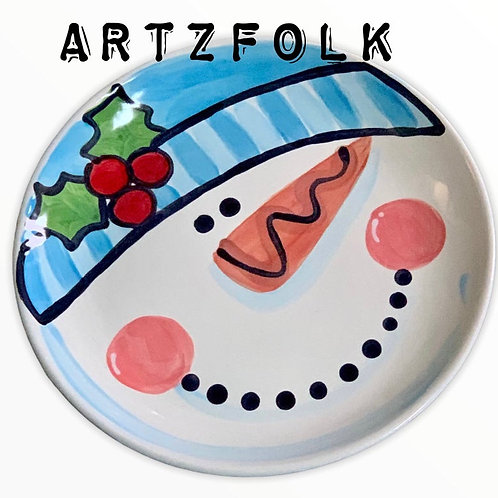 Snowman holiday ceramic plate personalized name by artzfolk