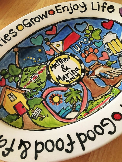 Unique gift Custom traditions family story art large handmade ceramic oval