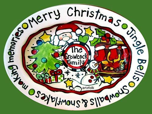 Custom traditions Christmas story art large handmade ceramic oval