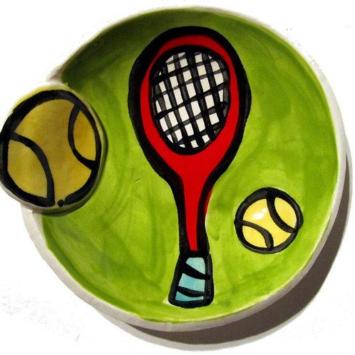 Tennis Love mini Handmade Pottery Bowl great trinket or soap dish by Artzfolk