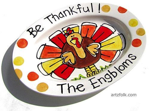 Personalized handmade oval ceramic Turkey Platter Thanksgiving Tray