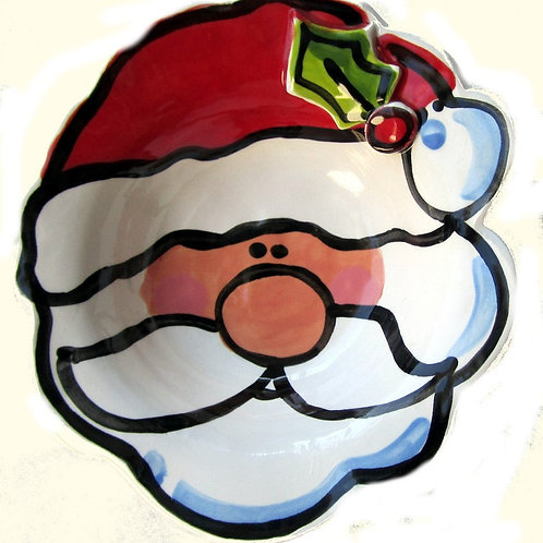 personalized Happy Santa Claus handmade pottery bowl By Artzfolk