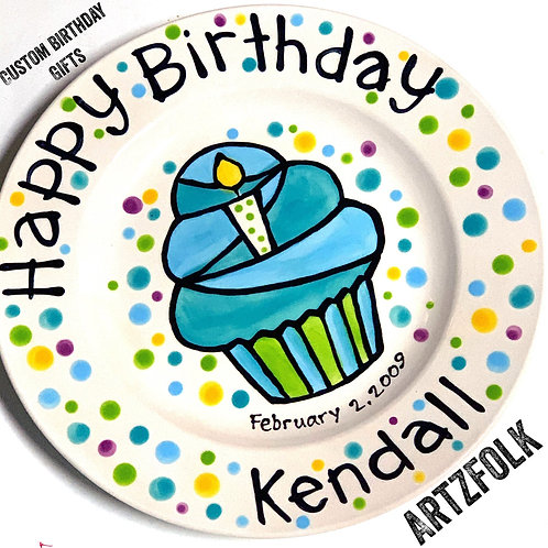 Happy Birthday candle cupcake personalized
