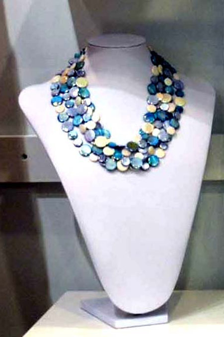 Multi Blue Tone 6 Strand Necklace #9189