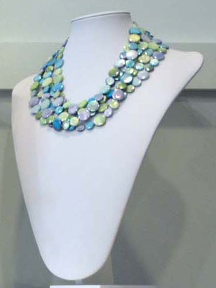 Multi Aqua Tone 6 Strand Necklace #9189