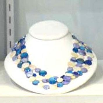 Multi Blue Tone 3 Strand Necklace #12177