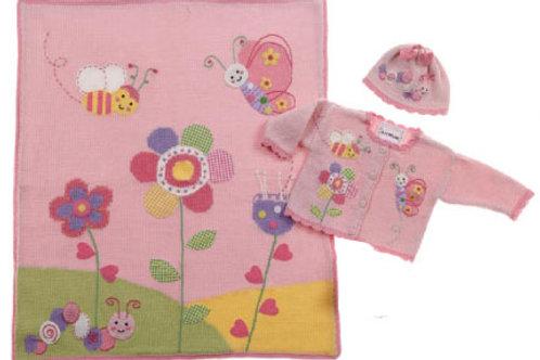 In The Garden Hand Knit Cotton Blanket