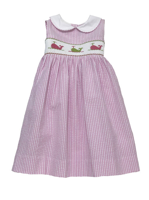 Whales Smocked Pink Stripe Dress