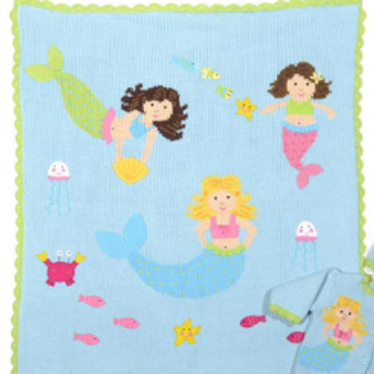 Hand Knit Cotton Mermaid Motif Blanket