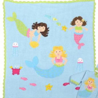 Hand Knit Cotton Mermaid Motif Blanket