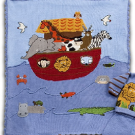 Hand Knit Cotton Noah and the Ark Motif Blanket