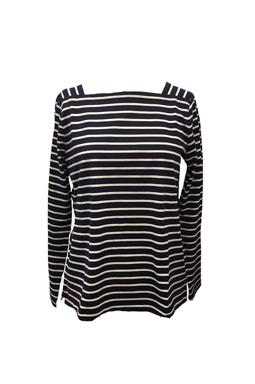 Joules Navy and White Striped Top