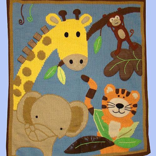 Hand Knit Cotton Jungle Motif Blanket