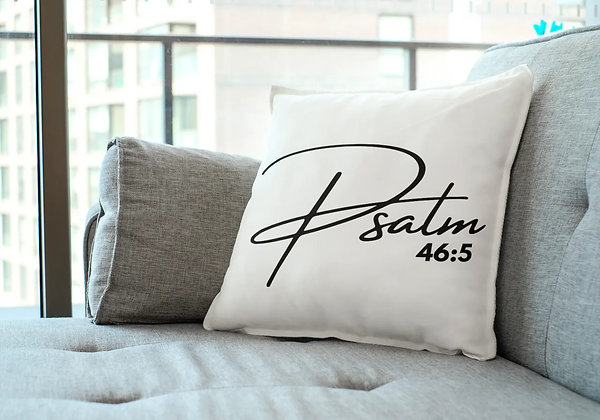PSALM 46:5 White Pillow Cover (18x18)