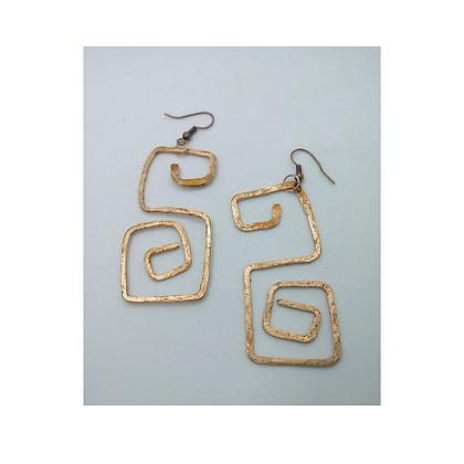 Hammered Block Copper S earrings