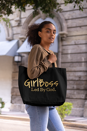 Girl Boss Led by God Gold/ Black Canvas Tote