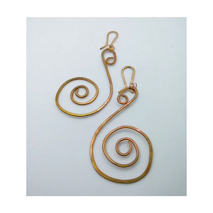 Medium Copper Swan earrings