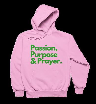 Passion, Purpose & Prayer Hoodie (Pink/Green)