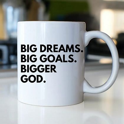 BIGGER GOD. White Mug