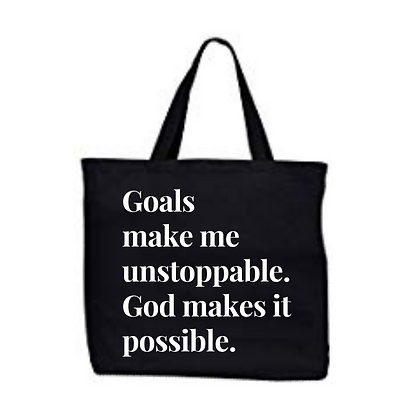 Goals with God Large Black Tote