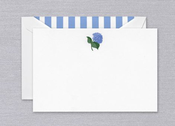 Engraved Hydrangea Correspondence Card w/ Hand Calligraphy Message