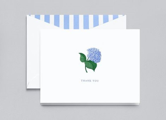Engraved Hydrangea Thank You Note Card w/ Hand Calligraphy Message