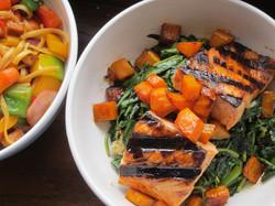 sesame greens, butternut, quinoa & salmon