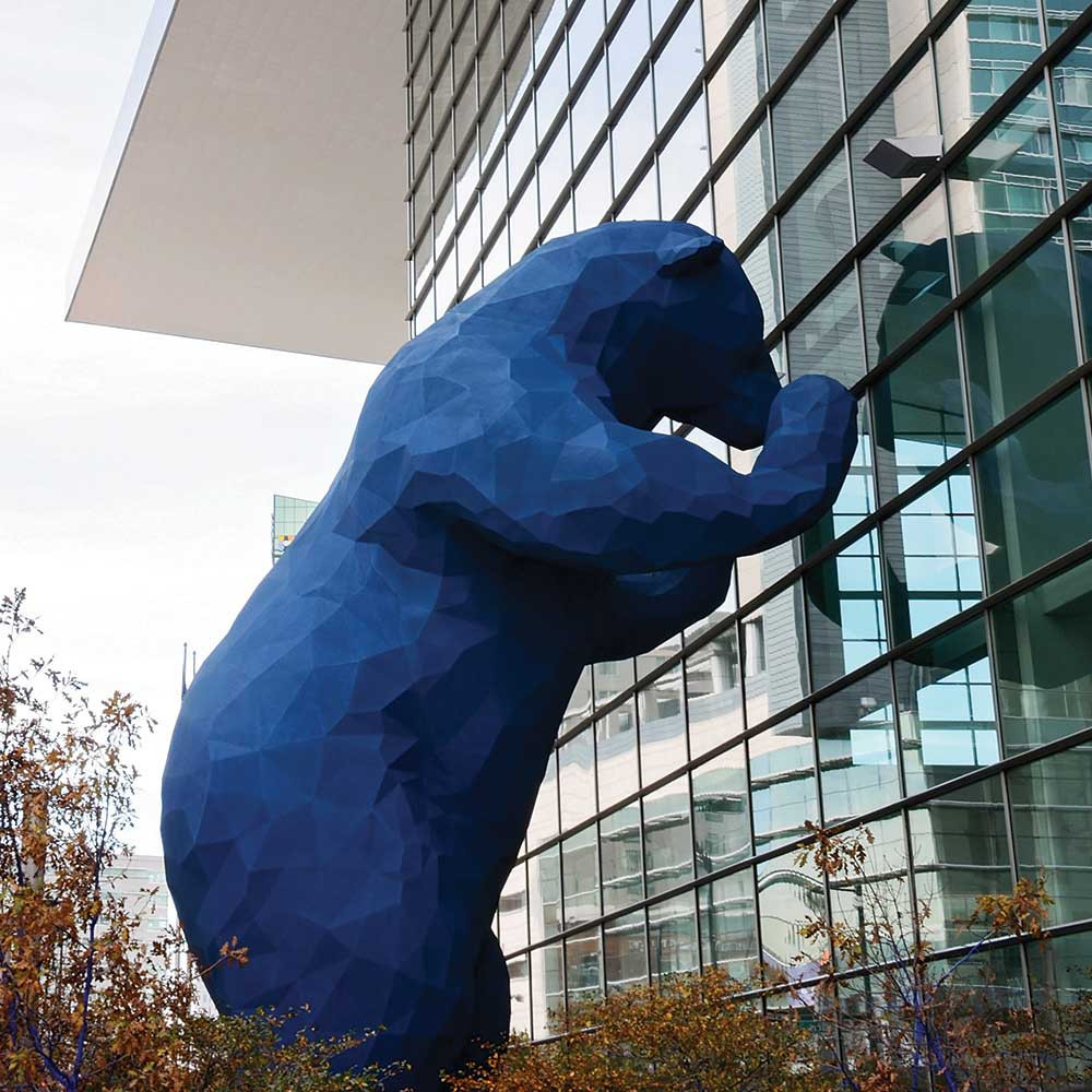 The big blue bear statue at the Colorado Convention Center in Denver.