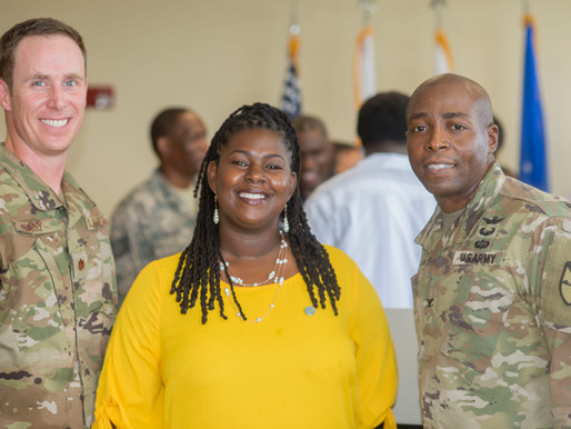 Senator DeGazon bids farewell to deploying airmen from the VI Air National Guard