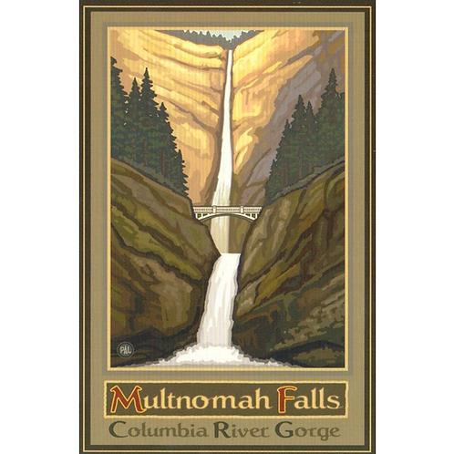 """Metal Sign - Multnomah Falls 12"""" x 16"""""""