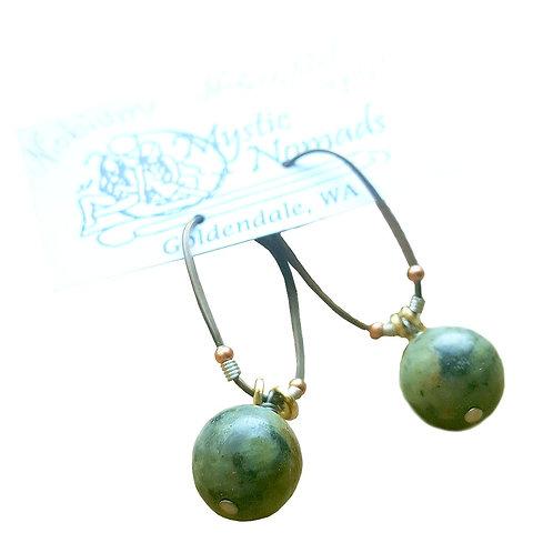 Oval Hoops 1 Stone Earrings