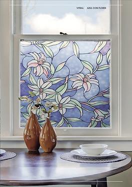 Vitral Azul Con Flores