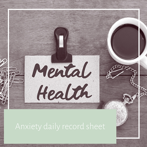 Anxiety dailey record sheet